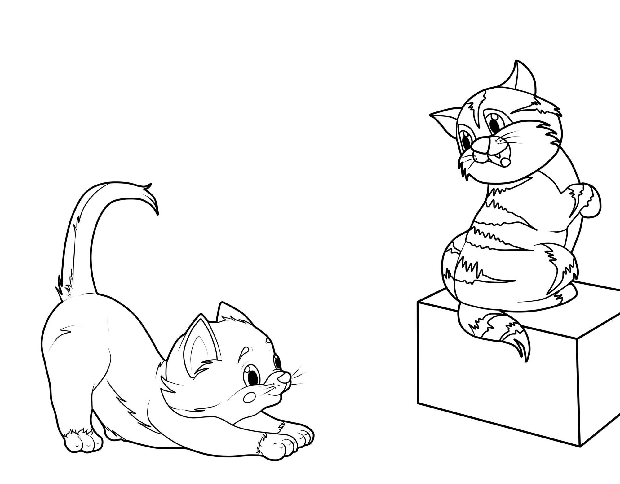 Ausmalbild Katzen: Zwei Kätzchen kostenlos ausdrucken