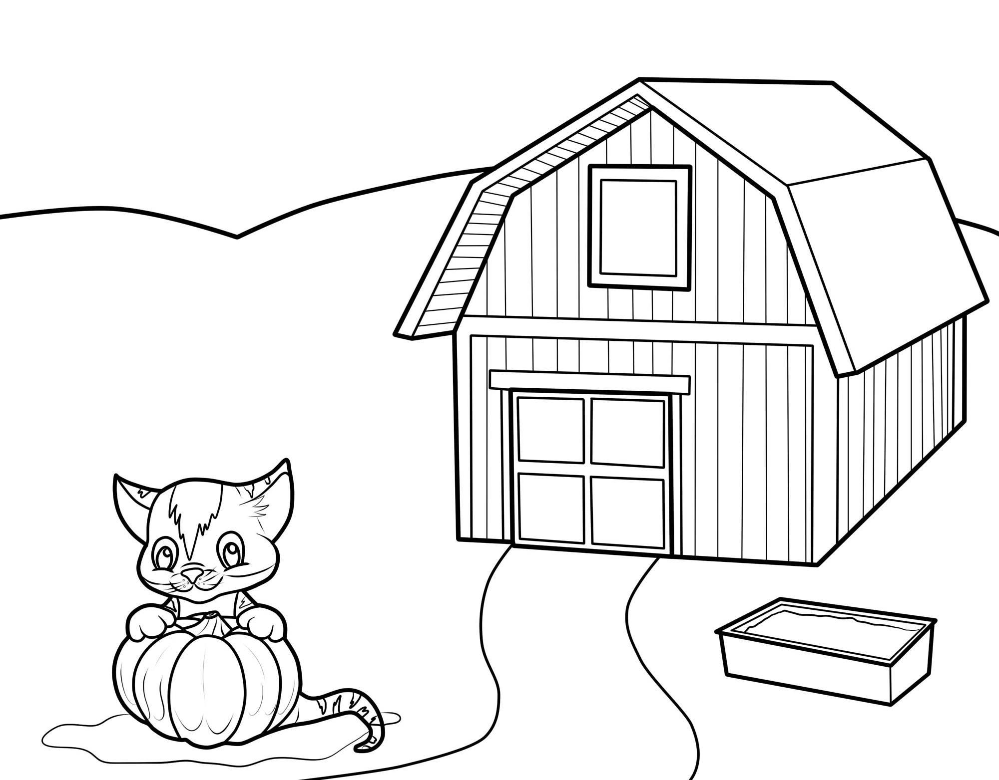 kostenlose malvorlage katzen katze auf dem bauernhof zum