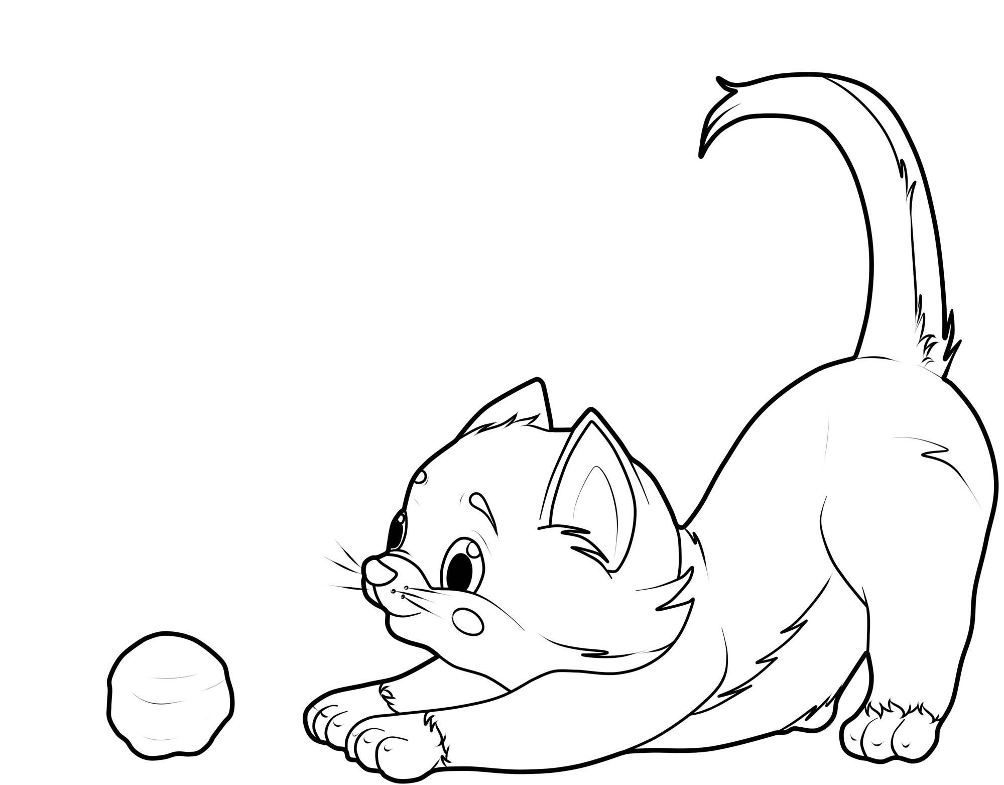 Ausmalbild Katzen Katze Mit Wollknäuel Kostenlos Ausdrucken
