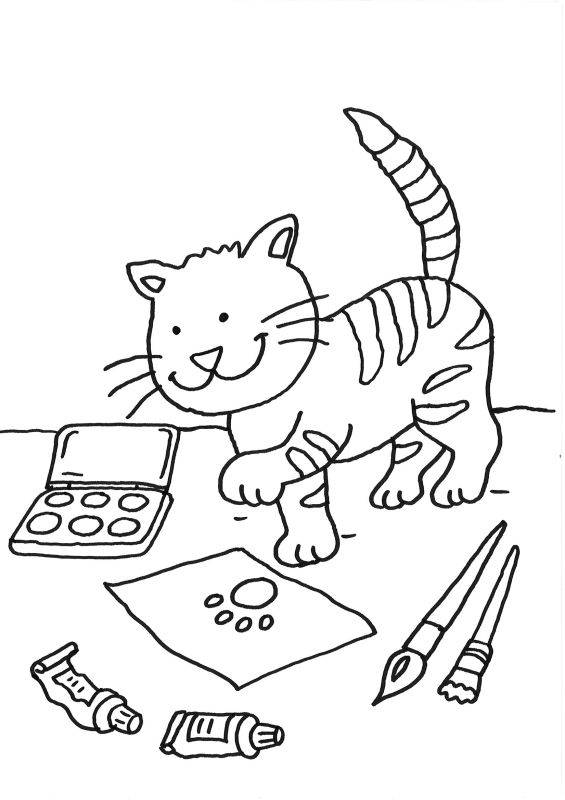 Ausmalbild Katzen: Katze auf dem Schreibtisch ausmalen ...