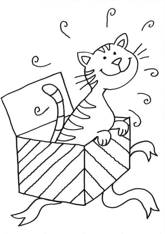 ausmalbild katzen katze im geschenk kostenlos ausdrucken