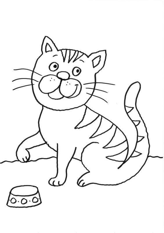 Kostenlose Malvorlage Katzen: Katze mit Futternapf zum ...
