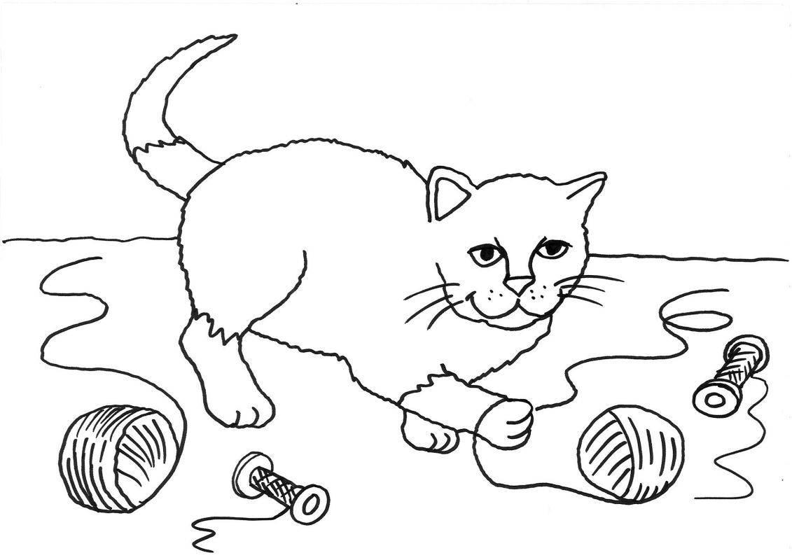 Kostenlose Malvorlage Katzen: Katze mit Wollknäuel ausmalen zum Ausmalen