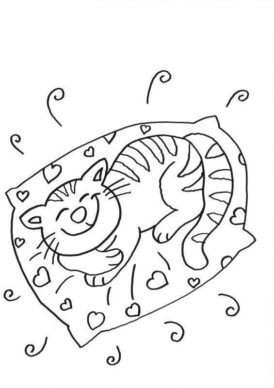 kostenlose malvorlage katzen katze schläft zum ausmalen