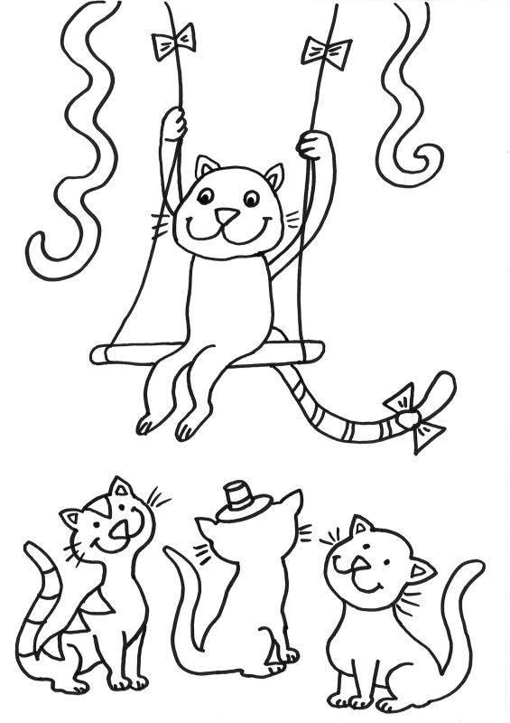 Ausmalbild Katzen: Katze als Zirkusartist kostenlos ausdrucken