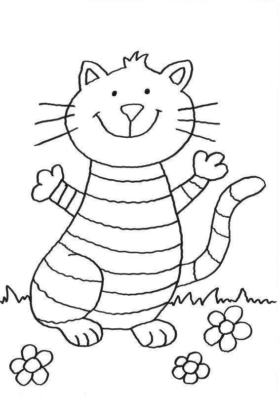 Ausmalbild Katzen: Lustige Katze ausmalen kostenlos ausdrucken