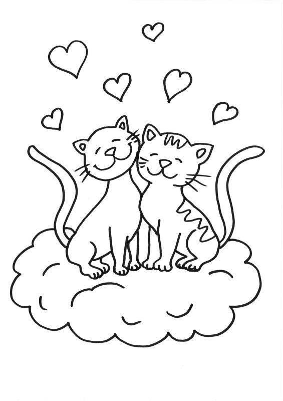 Ausmalbild Katzen: Katze und Kater kostenlos ausdrucken