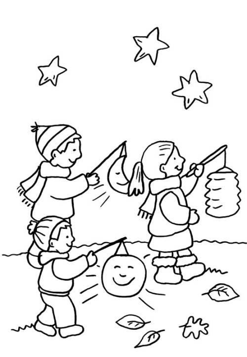 Kostenlose Malvorlage Kindergarten: Kinder beim Laternenumzug zum ...
