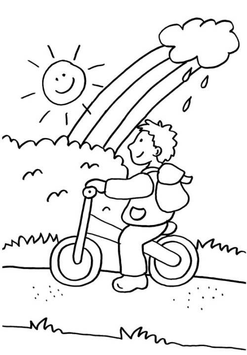 Kostenlose Malvorlage Kindergarten: Junge mit Laufrad zum Ausmalen