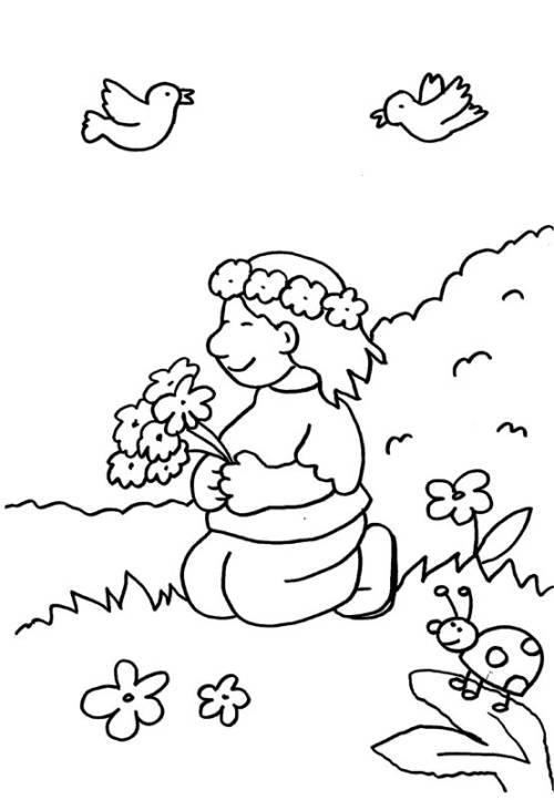 Kostenlose Malvorlage Kindergarten: Mädchen mit Blumenkranz zum ...