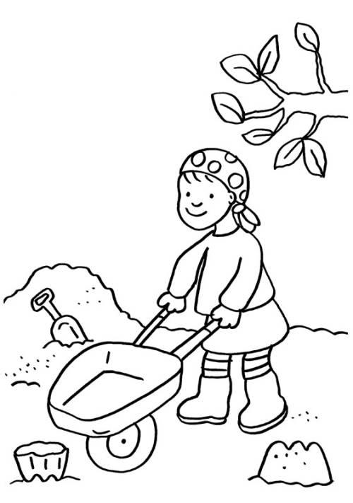 Kostenlose Malvorlage Kindergarten: Im Sandkasten zum Ausmalen