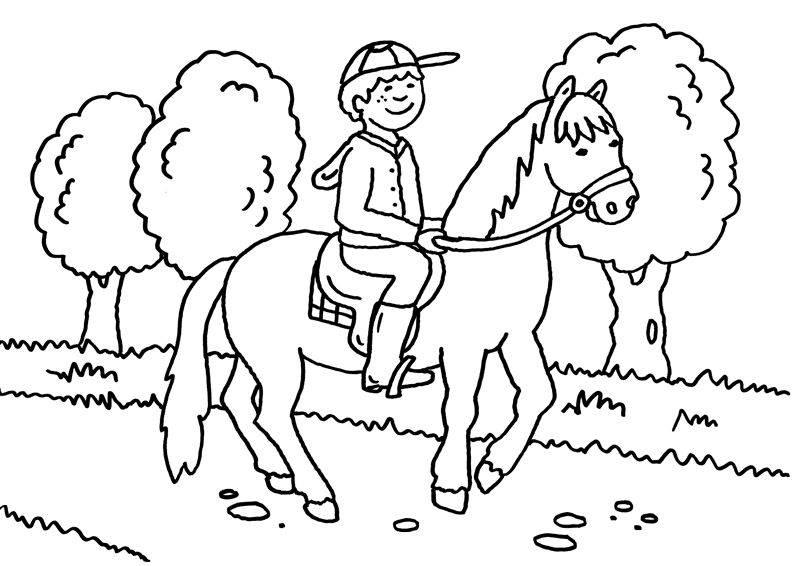 Kostenlose Malvorlage Pferde: Kleiner Reiter zum Ausmalen zum Ausmalen