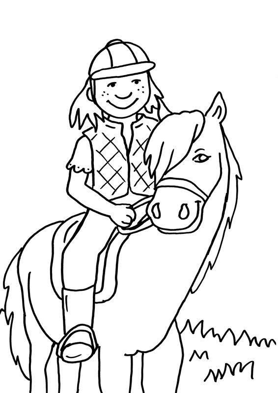 Ausmalbild Pferde Kleine Reiterin Zum Ausmalen Kostenlos