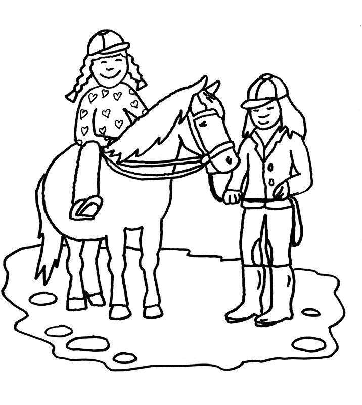 Kostenlose Malvorlage Pferde: Reitunterricht zum Ausmalen