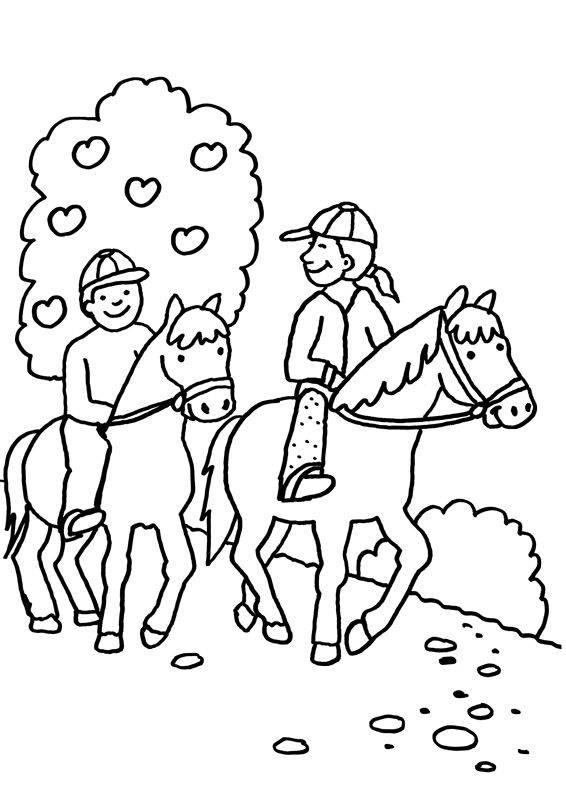 kostenlose malvorlage pferde zwei pferde beim ausritt zum
