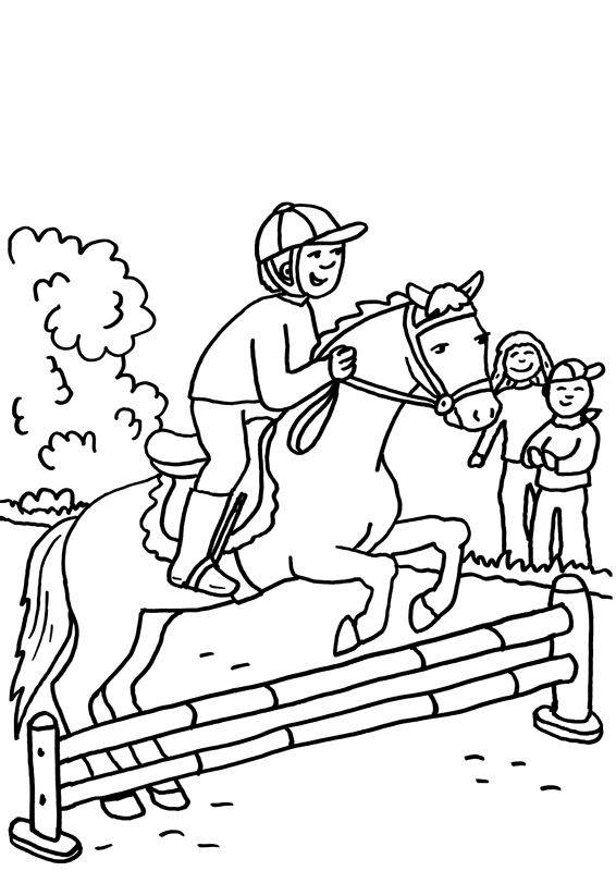 kostenlose malvorlage pferde pferd beim springreiten zum ausmalen. Black Bedroom Furniture Sets. Home Design Ideas