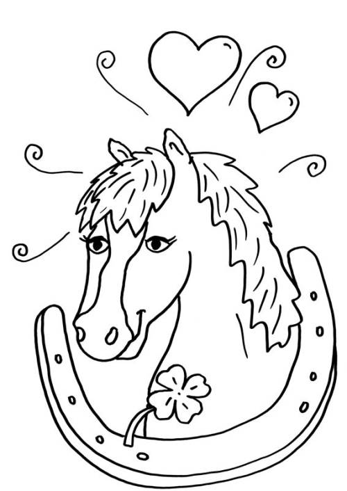Kostenlose Malvorlage Pferde Pferd Und Hufeisen Zum Ausmalen