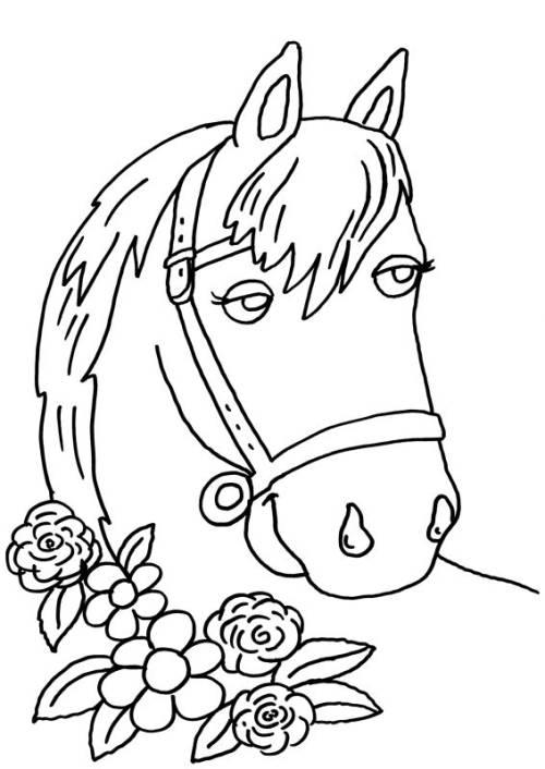 Kostenlose Malvorlage Pferde: Pferd und Blumen zum Ausmalen