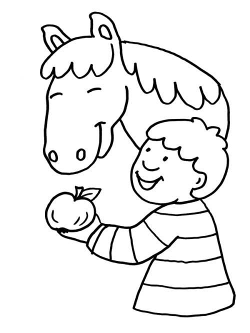 Kostenlose Malvorlage Pferde: Pferd frisst Apfel zum Ausmalen