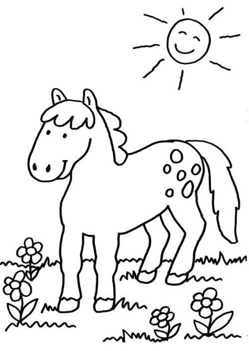 Kostenlose Malvorlage Pferde Pferd Auf Der Koppel Zum Ausmalen