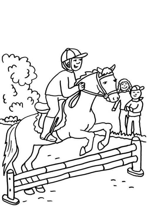 Kostenlose Malvorlage Pferde: Pferd beim Springreiten zum Ausmalen