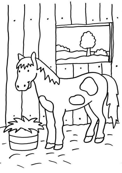 Kostenlose Malvorlage Pferde Pferd Im Stall Zum Ausmalen