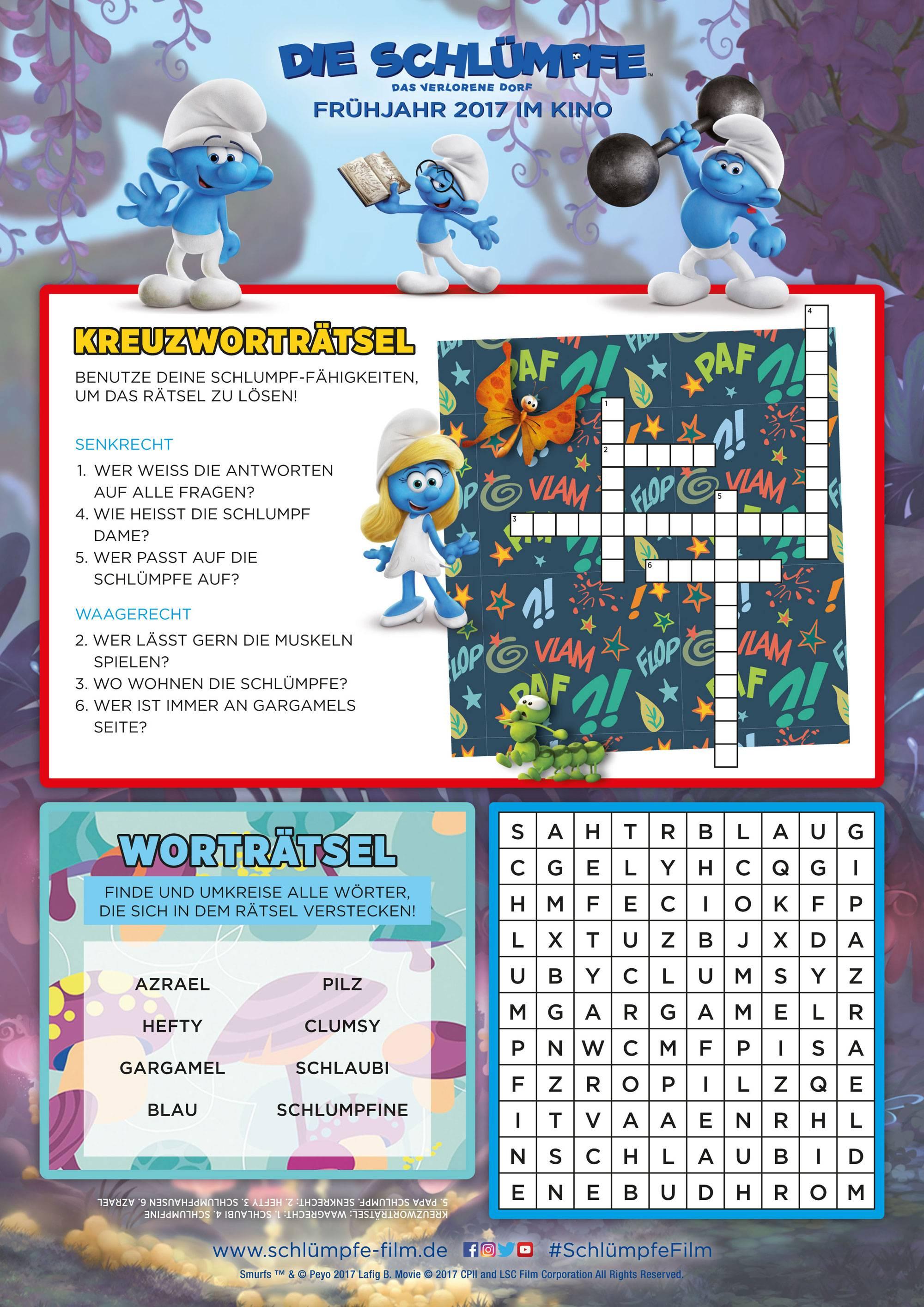 Ausmalbild Bilderkreuzworträtsel und Sudoku: Die Schlümpfe: Rätsel ...