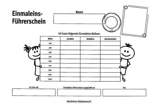 Ausmalbild Rechnen lernen: Einmaleins Führerschein für Kinder
