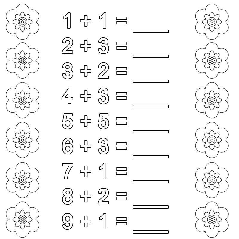 Ausmalbild Rechnen lernen: Addition Arbeitsblatt 1 kostenlos ausdrucken