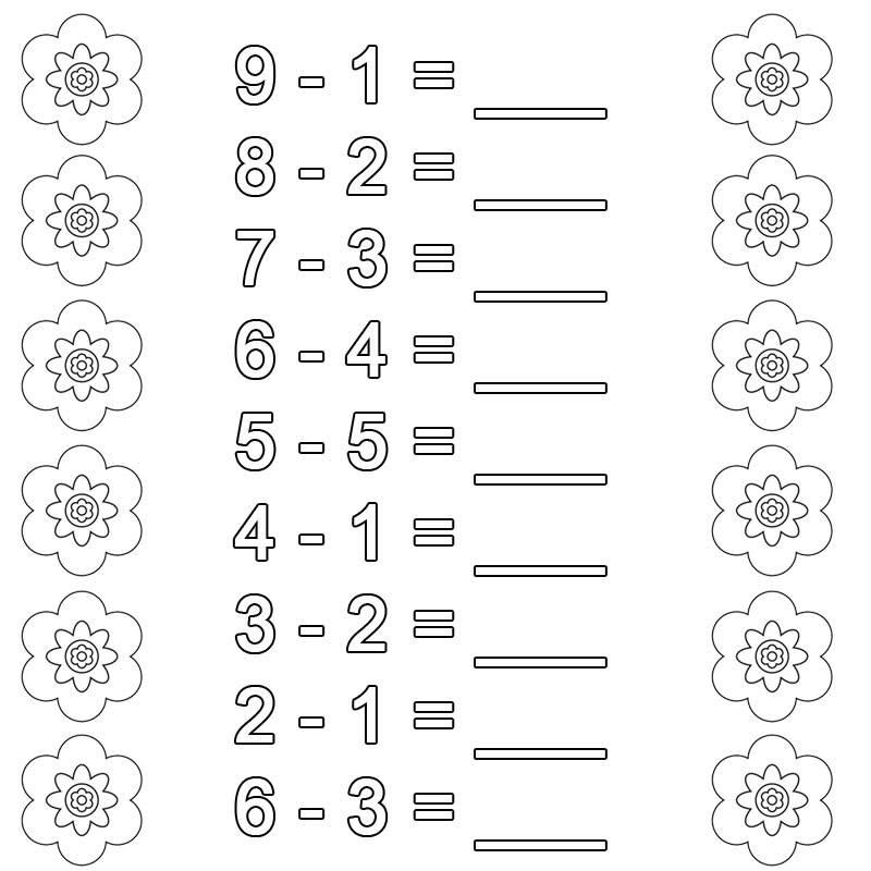 Ausmalbild Rechnen lernen: Subtraktion Arbeitsblatt 5 kostenlos ...