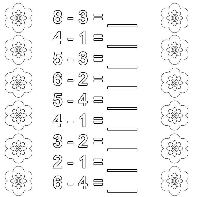 Ausmalbild Rechnen lernen: Subtraktion Arbeitsblatt 6 kostenlos ...