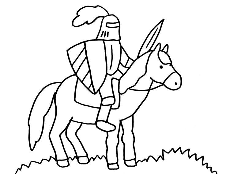 Ausmalbild Ritter und Drachen: Ritter auf seinem Pferd kostenlos