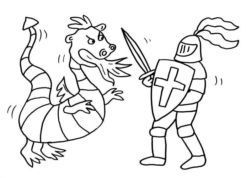 Ausmalbild Ritter und Drachen: Drache und Ritter kämpfen kostenlos