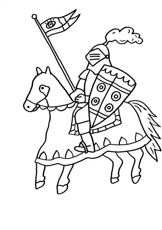 ausmalbild ritter und drachen ritter auf seinem pferd