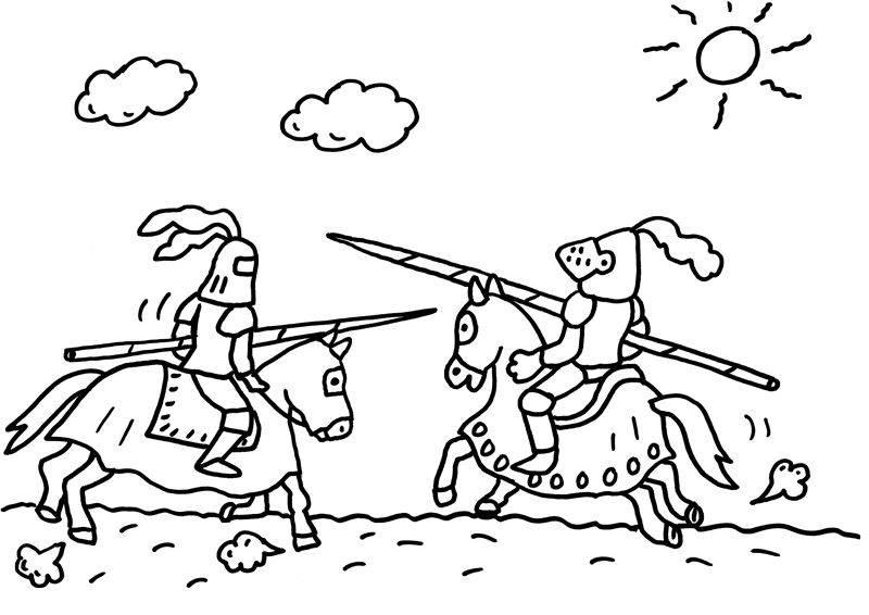 Ausmalbild Ritter Und Drachen Ein Ritterturnier Zum Ausmalen