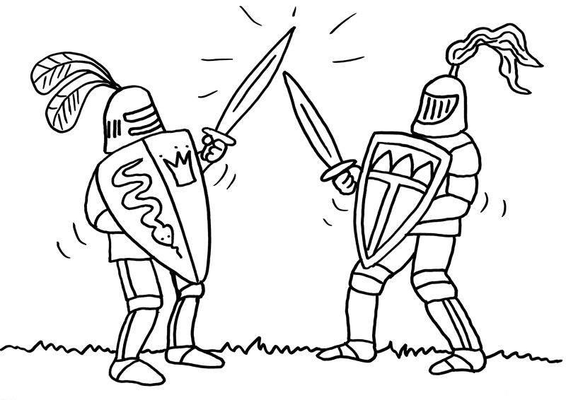 Ausmalbild Ritter und Drachen: Zwei Ritter beim Schwertkampf