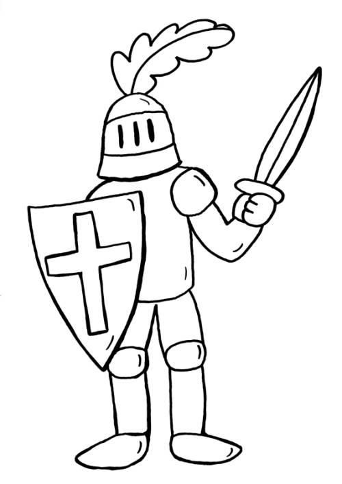 Kostenlose Malvorlage Ritter und Drachen: Ritter zum Ausmalen