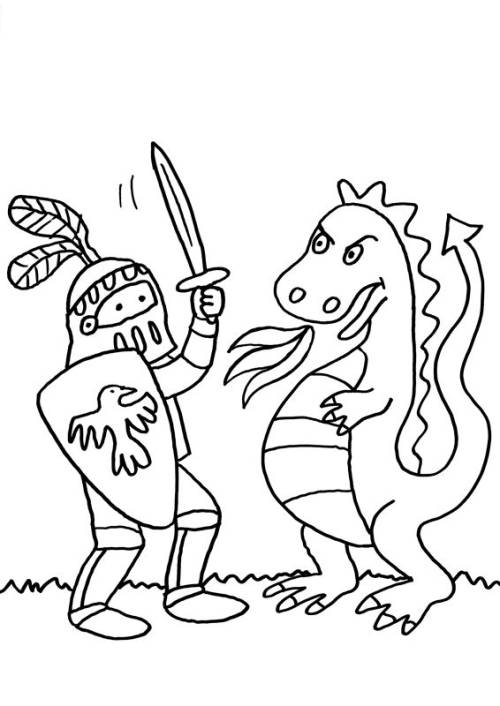 Kostenlose Malvorlage Ritter Und Drachen Ritter Und Drache Kämpfen