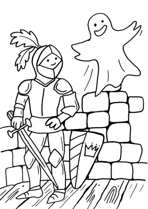 Kostenlose Malvorlage Ritter Und Drachen Ritter Und Gespenst