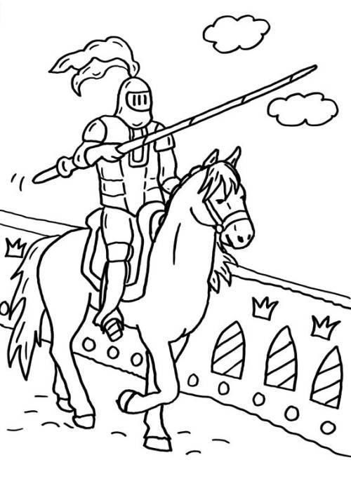 Kostenlose Malvorlage Ritter Und Drachen Ritter Mit Lanze Ausmalen