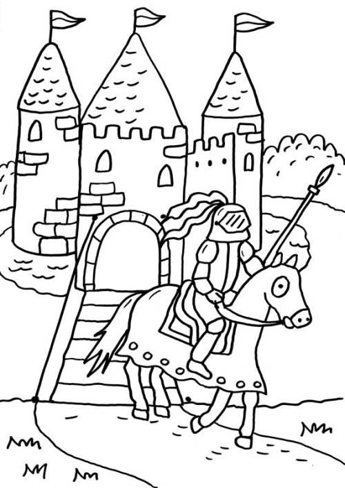 Kostenlose Malvorlage Ritter Und Drachen Ritterburg Zum Ausmalen
