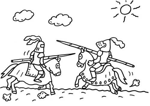 Kostenlose Malvorlage Ritter Und Drachen Ein Ritterturnier Zum