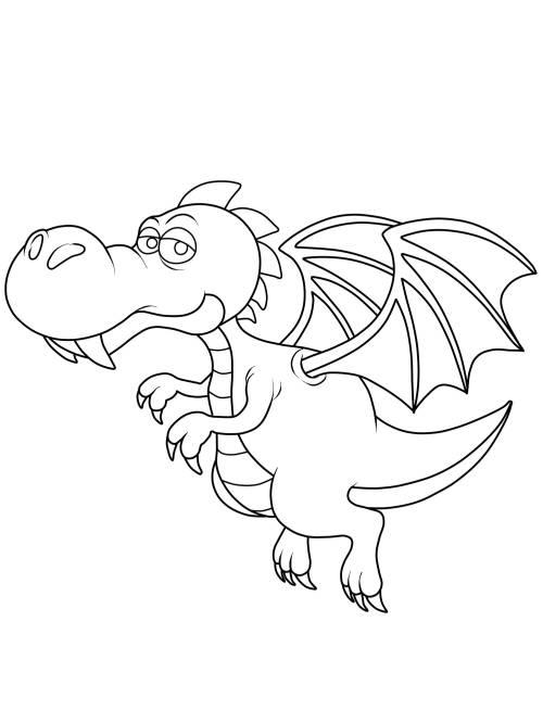 Kostenlose Malvorlage Ritter und Drachen: Fliegender Drache zum Ausmalen