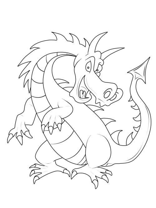 Kostenlose Malvorlage Ritter Und Drachen Großer Gefährlicher Drache