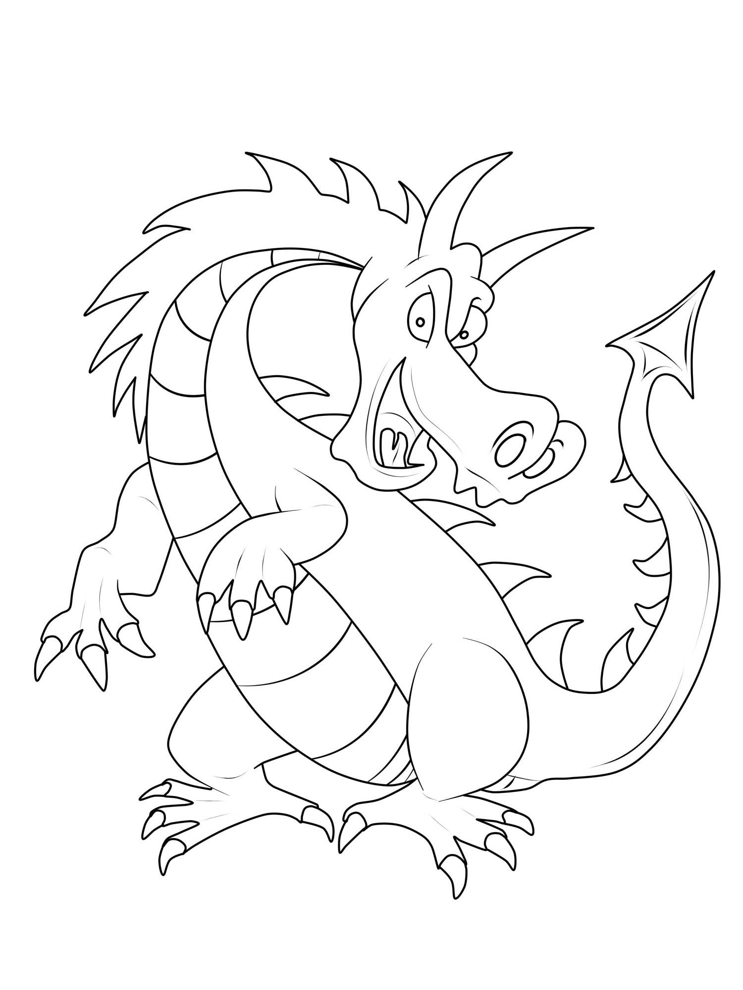 Ausmalbild Ritter Und Drachen Großer Gefährlicher Drache Kostenlos
