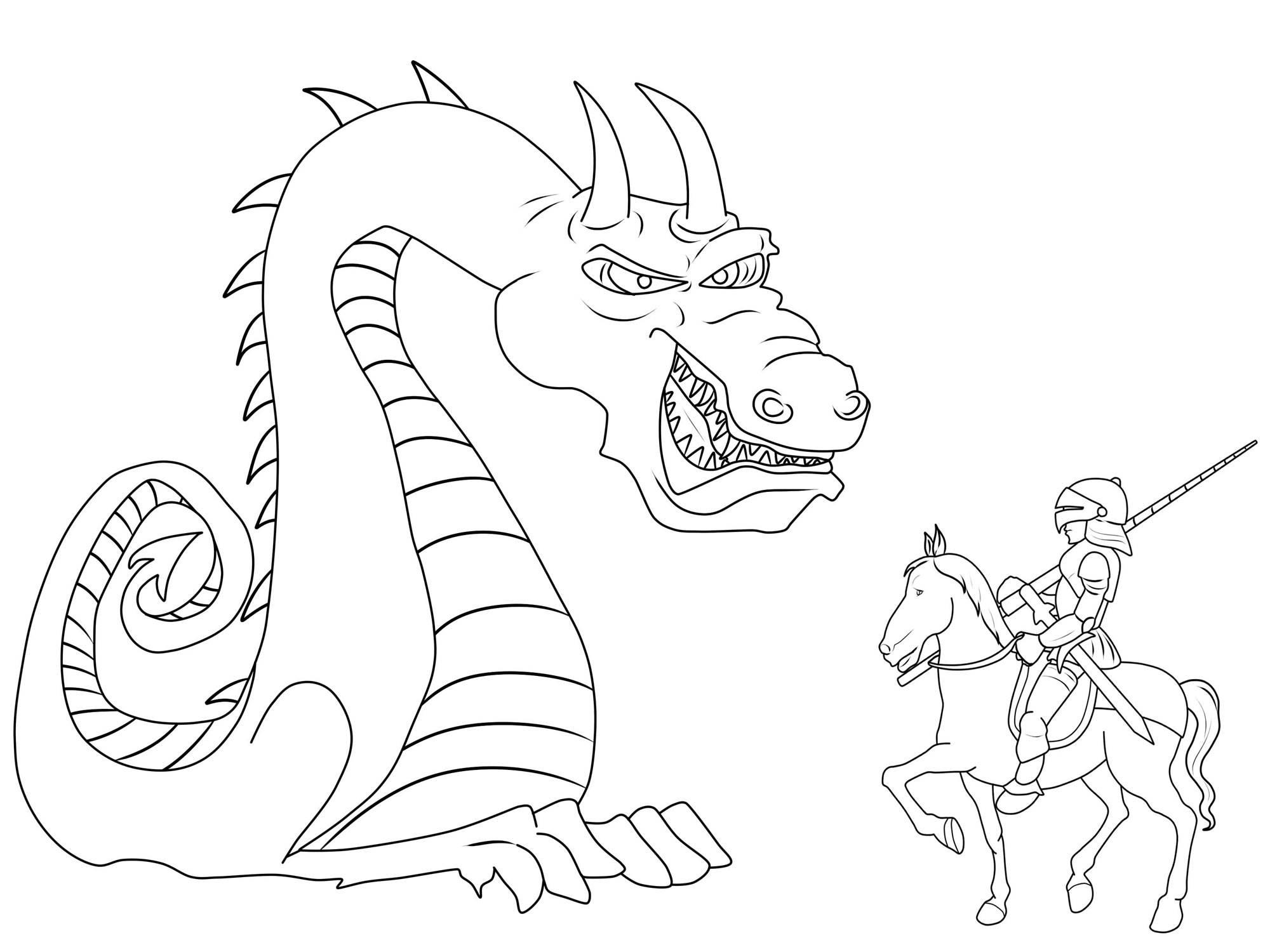 Ausmalbild Ritter und Drachen: Riesiger Drache und Ritter