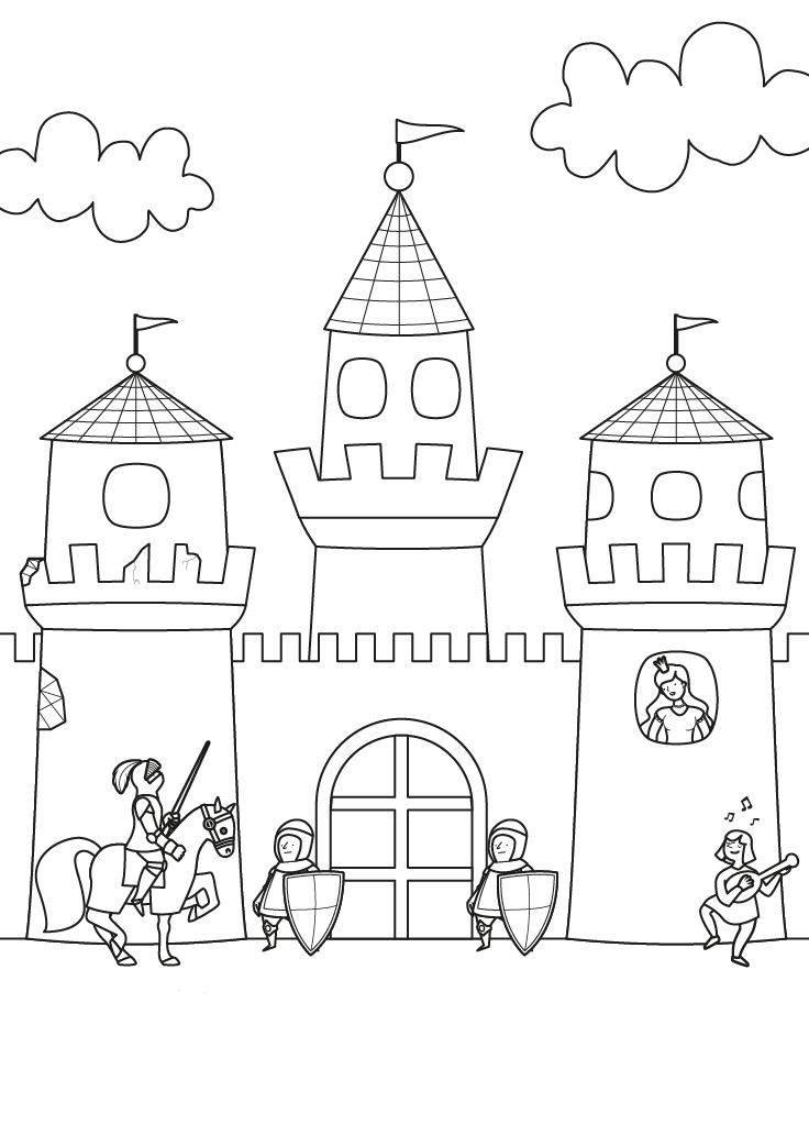Ausmalbild Ritter und Drachen: Ritterburg zum Ausmalen kostenlos