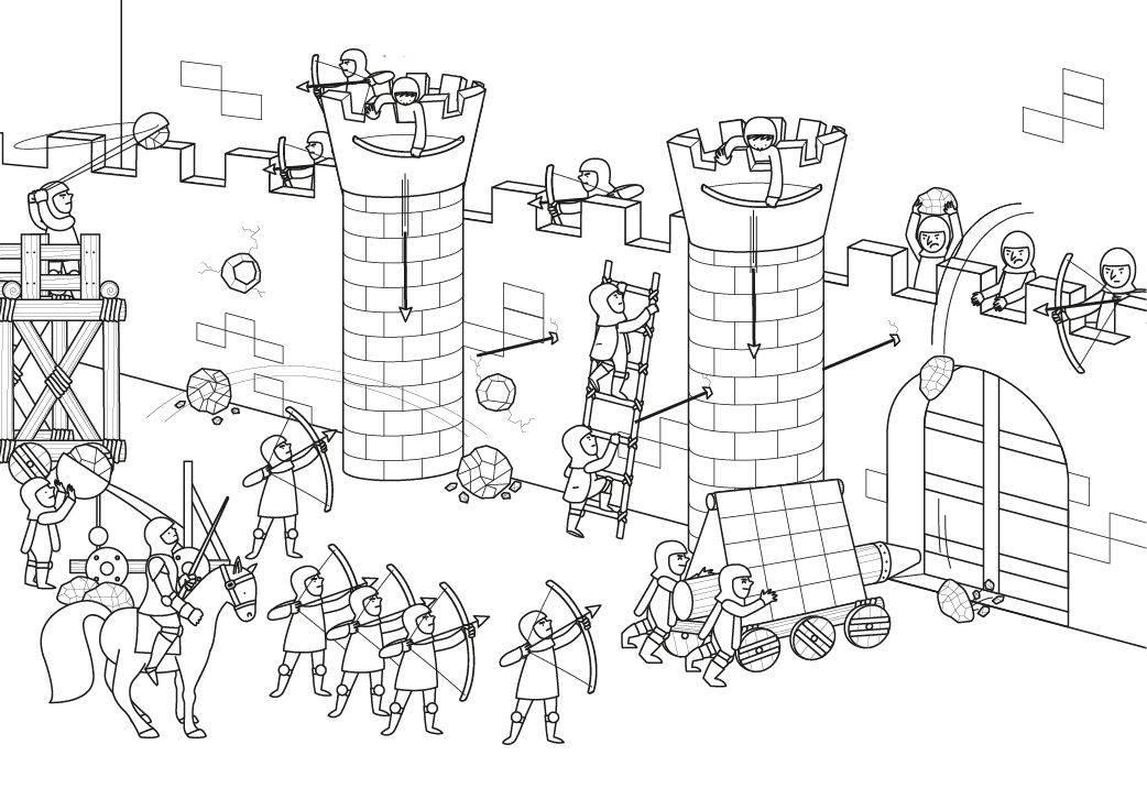 Ausmalbild Ritter und Drachen: Angriff auf die Ritterburg