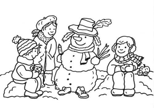 Kostenlose Malvorlage Schneemänner: Drei Kinder und Schneemann zum ...