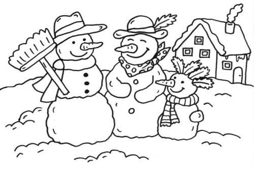 kostenlose malvorlage schneemänner schneemannfamilie